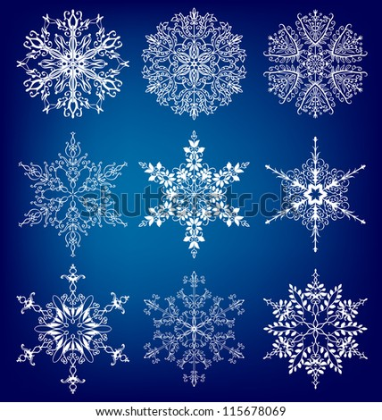 Snowflakes.  Vector  set eps 10.