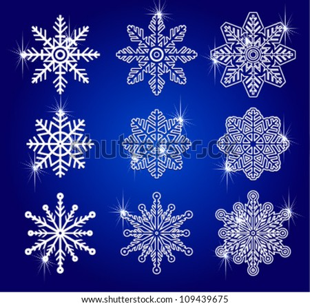 Snowflakes vector winter set for christmas design