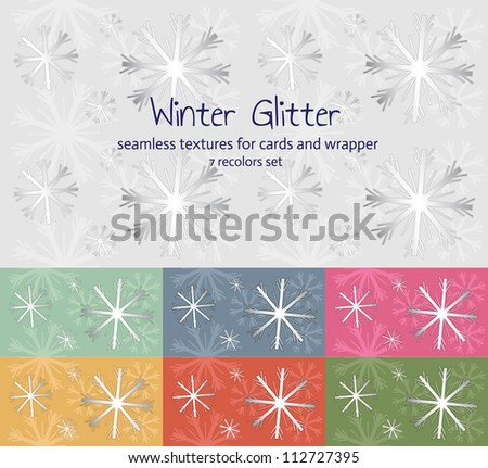 Snowflakes winter seamless pattern set for background, wrapper and cards