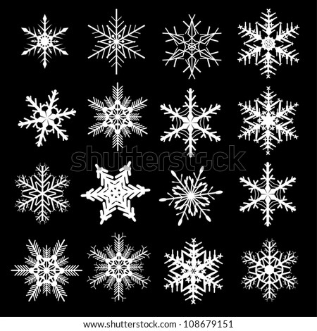 Snowflakes winter set, vector design.