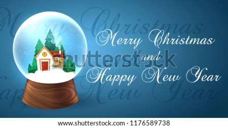 Snowglobe banner for xmas holiday. Christmas snow globe with with a new year house, vector illustration