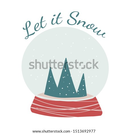 Snowglobe with greeting text composition. Vector square Winter holidays greeting card.  Hand drawn minimalistic illustration. Scandinavian style.