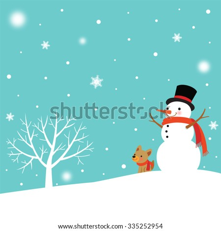 snowman and cute dog in winter