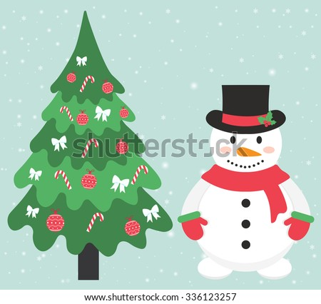 snowman and fir tree with toy