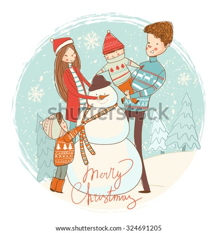 snowman and happy family