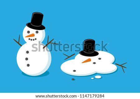Snowman and melted snowman cartoon vector illustration