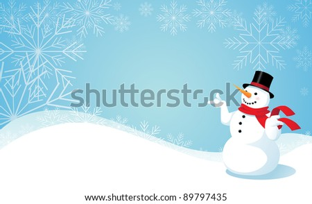 Snowman and snowflake background A happy snowman points towards your message. EPS 8 vector, grouped for easy editing, No open shapes or paths.