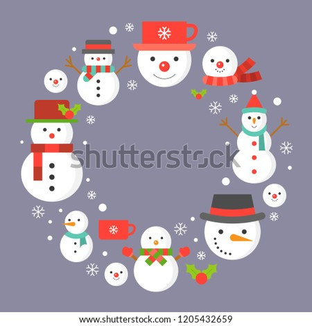 snowman and snowflakes icon on background for Christmas holidays,flat design