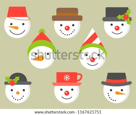 snowman and various hat icon for winter and christmas, flat design illustration vector