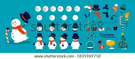 Snowman animation kit. Christmas character construction elements, combination of heads, body and arms in different poses. Winter hats, scarves or objects decorating snow figure. Vector celebration set