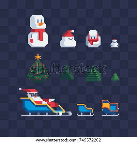 snowman characters, xmas trees set and santa in sleigh, pixel art style, isolated vector illustration.