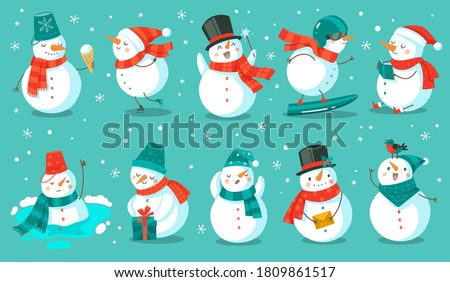 Snowman. Cheerful christmas snowmen in different costume with ice cream, book and gift, letter and snowboard winter outdoor festive happy xmas holiday cute characters, flat vector cartoon isolated set