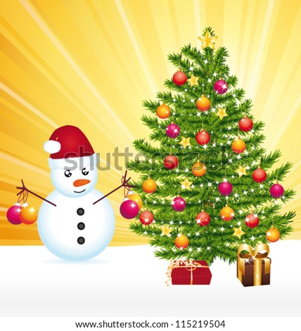 Snowman decorating a joyful christmas tree. Vector greeting card.