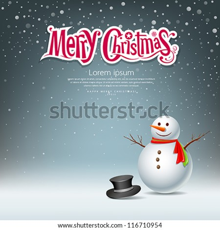 Snowman design on snowflake background. vector illustration