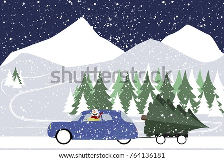 snowman drives in a retro car