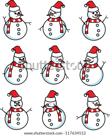 snowman emotion, happy, sad, angry, sorrow vector
