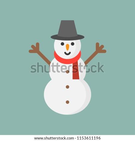 snowman flat icon, Christmas theme set
