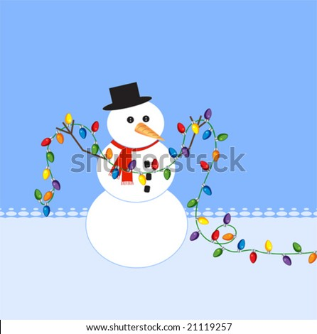 Stock Photo Snowman holding a string of christmas lights