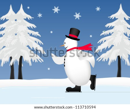 Snowman ice skating on frozen pond