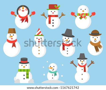snowman icon for winter and christmas, flat design illustration vector