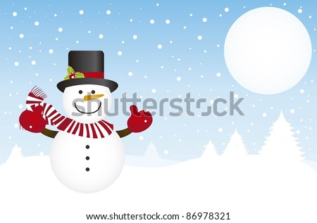 snowman in the snow with scarf and hat over winter background