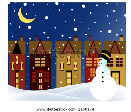 snowman in village at night with snowfall
