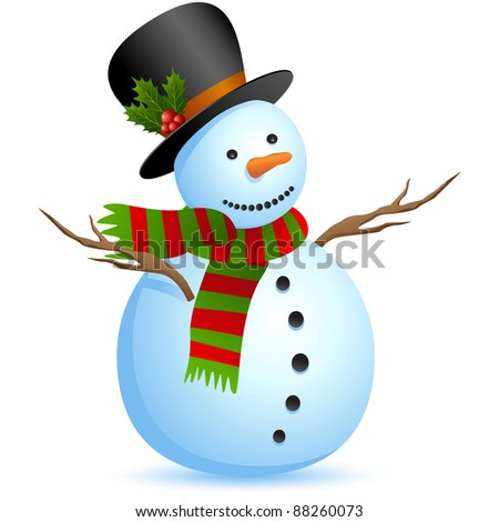 Snowman isolated on white. Vector