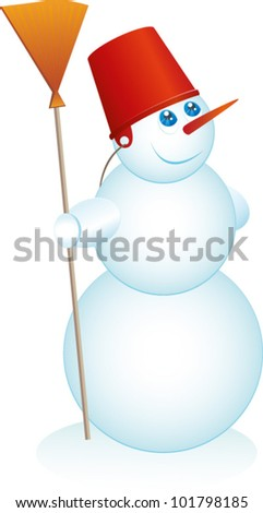 Snowman looks at something. Vector illustration