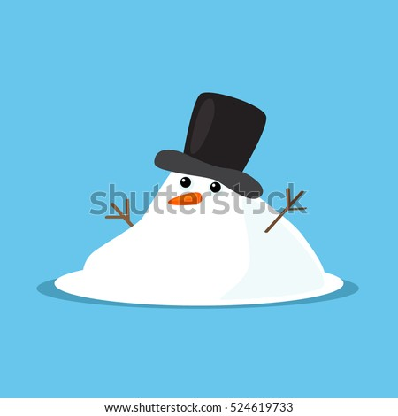 Snowman melted. flat vector illustration in cartoon style isolation on a blue background. easy to use