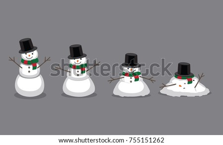 Snowman Melting Cartoon Vector Illustration