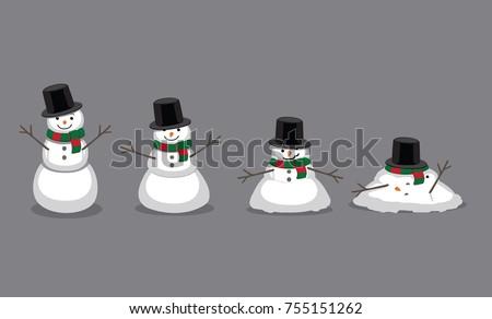 Snowman Melting Cartoon Vector Illustration