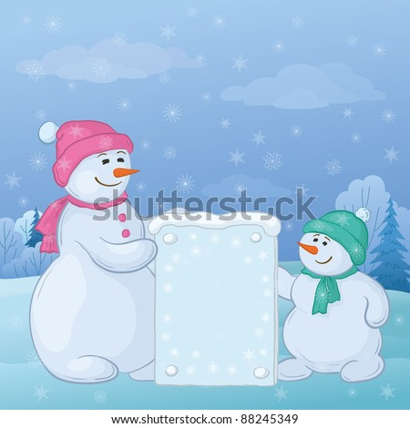 Snowman mother and son in the winter forest with a banner for your text. Vector