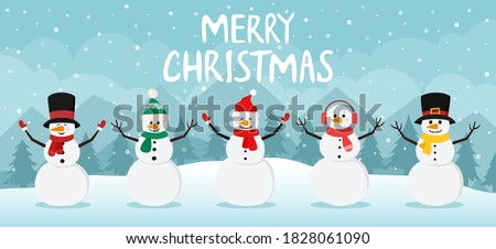 Snowman on christmas winter background. Cute characters snowmans collection in scarf and hat for holiday xmas and new year. Vector illustration.