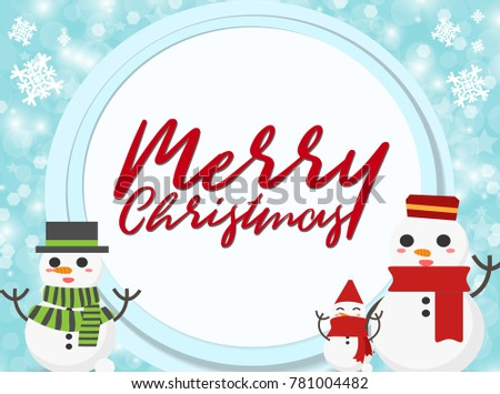 Snowman paper background Christmas Concept. Set of brochure, poster templates in Christmas style. Beautiful design and layout Christmas card #781004482