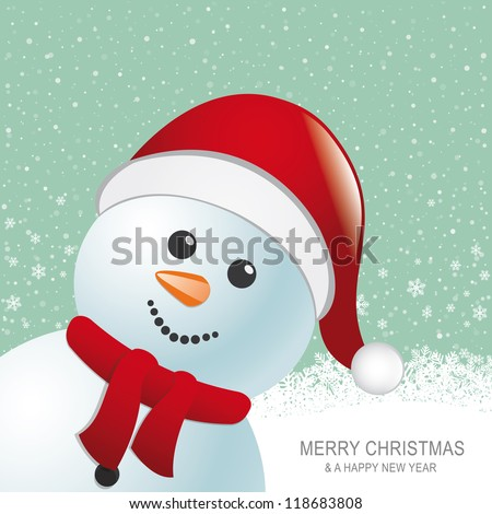 snowman red hat snow snowflake snow background