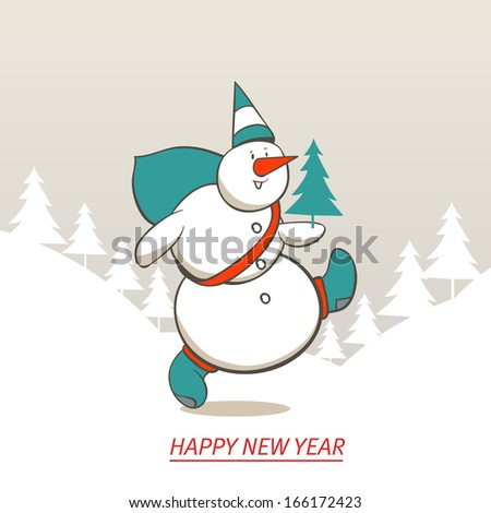 Snowman sale labels with vintage effect. New Year and Christmas. #166172423