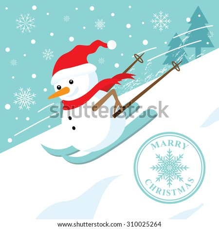 snowman skiing down a mountain