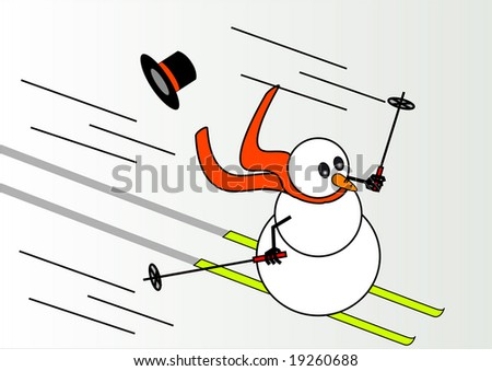 snowman skiing who has lost his hat - stock vector