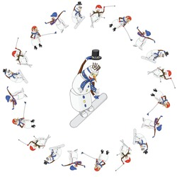 snowman snowboarder in a circle of snowmen athletes