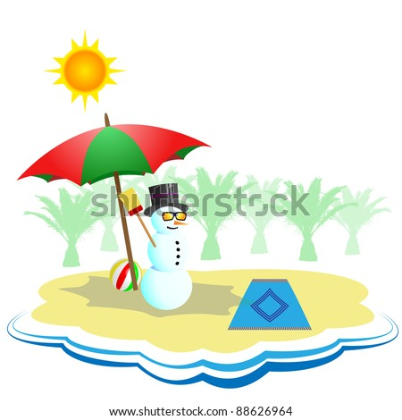 Snowman under umbrella on the beach - make impossible concept