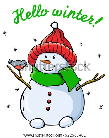 snowman vector illustration christmas new year holiday greeting card abstract design template