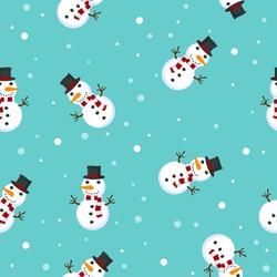 Snowman vector illustration pattern seamless