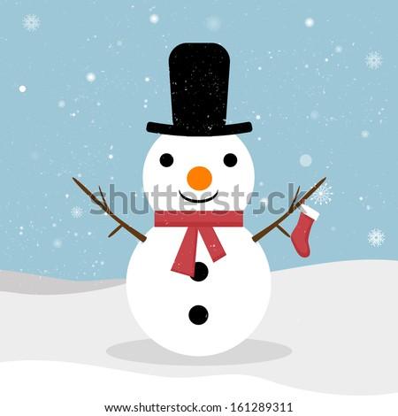 Snowman. Vector snowman. Snowman greeting.