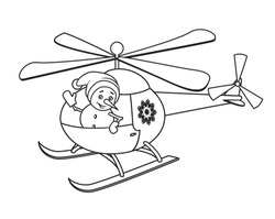 Snowman waving from the window of the helicopter