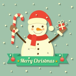 snowman wearing Christmas hat and scarf holding gift box and sweet within ribbon badge with snow background. vector.