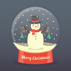 snowman wearing hat and scarf with Christmas balls and Christmas trees hanging on his hands in snow globe on dark background. vector.