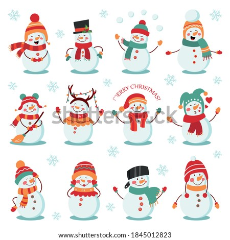 Snowman winter holidays set. Cheerful snowmen in different costumes. Vector illustration on white isolated background.