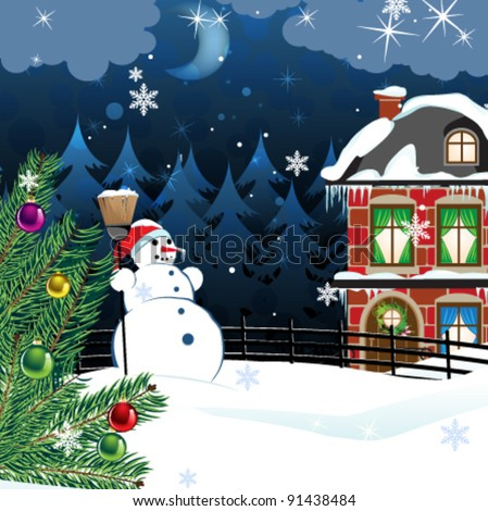 snowman with a broom and a Christmas tree in the yard of a snow covered two-story brick house. Winter country landscape - stock vector