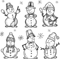 snowman with a broom. Segovik in a Santa Claus hat and with an iron bucket on his head vector graphics. sketch. Freehand drawing.