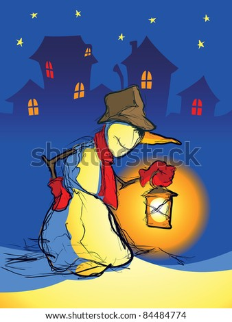 Snowman with a lamp